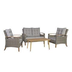 Lauko baldų komplektas Prato, pilkas/rudas kaina ir informacija | Lauko baldų komplektai | pigu.lt