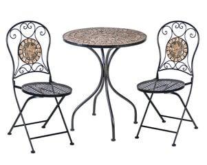 3-jų dalių sulankstomas lauko baldų komplektas Mosaic-2, pilkas/rudas