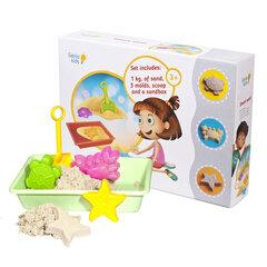 Kinetinis smėlis GENIO KIDS 1 kg su smėliadėže kaina ir informacija | Lavinamieji žaislai | pigu.lt