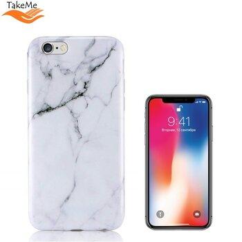 TakeMe Мраморный особо тонкий TPU чехол-крышка для Apple iPhone X / iPhone 10 Белый цена и информация | Чехлы для телефонов | pigu.lt