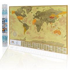 Стираемая карта мира Vintage Gold - подарок на день рождения для друга цена и информация | Другие оригинальные подарки | pigu.lt