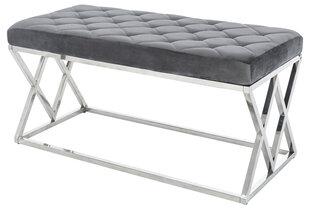 Metalinis suolas Glamour, 44x97 cm, pilkas kaina ir informacija | Kavos staliukai | pigu.lt