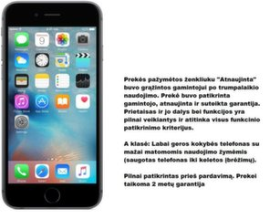 Apple iPhone 6s 64 GB, Pilka (Atnaujinta) Premium Renewd A-klasė
