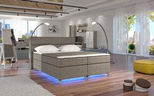 Lova Amadeo su LED apšvietimu, 180x200 cm, gobelenas, pilka