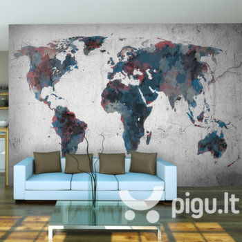Fototapetas - World map on the wall kaina ir informacija | Fototapetai | pigu.lt