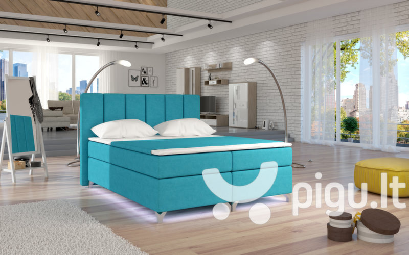 Lova NORE Basilio su LED apšvietimu, 140x200 cm, gobelenas, mėlyna цена и информация | Кровати | pigu.lt