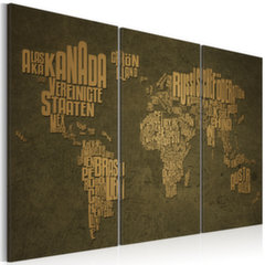 Paveikslas - The map of the World, German language:Beige continents - triptych kaina ir informacija | Reprodukcijos, paveikslai | pigu.lt