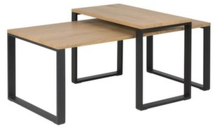 2-jų kavos staliukų komplektas Katrine, juodos/ąžuolo spalvos kaina ir informacija | Kavos staliukai | pigu.lt