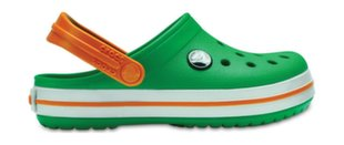 Crocs™ batai vaikams Kids' Crocband Clog, Grass Green/White/Blazing Orange
