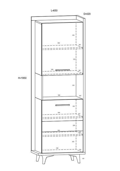 Lentyna Meblocross Box 07 2D, šviesiai ruda/balta kaina