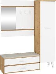 Prieškambario baldų komplektas Meblocross Nordis, ąžuolo/baltos spalvos kaina ir informacija | Prieškambario komplektai | pigu.lt