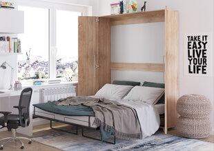 Sieninė lova Meblocross Teddy 160, 160x200 cm, šviesios ąžuolo spalvos kaina ir informacija | Lovos | pigu.lt