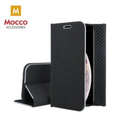 Mocco Carbon Leather Book Case For Apple iPhone X / XS Black kaina ir informacija | Telefono dėklai | pigu.lt