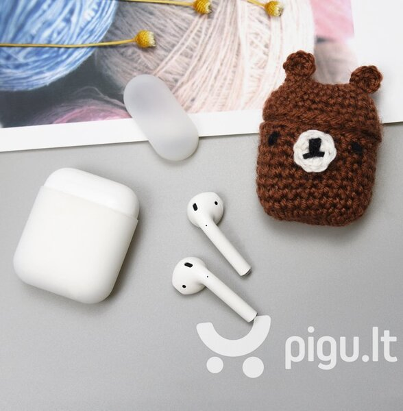 Ausinių dėklas Hurtel silicon case box with a wool cap for AirPods 1/2 Bear kaina