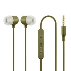Mygtinės ausinės su mikrofonu, chaki spalvos kaina ir informacija | Mygtinės ausinės su mikrofonu, chaki spalvos | pigu.lt