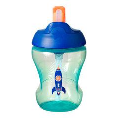 Tommee Tippee mokomasis puodelis su šiaudeliu berniukui 7m+, 447155 kaina ir informacija | Buteliukai kūdikiams ir jų priedai | pigu.lt