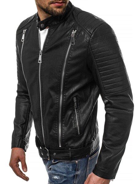 "Vyriška juodos spalvos eko odos striukė su užtrauktukais ""City"""
