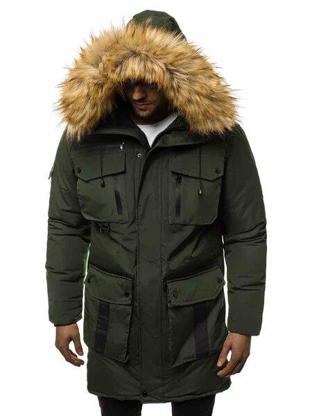 """Vyriška žieminė striukė žalios spalvos su kailiniu gobtuvu """"Fit"""" atsiliepimas"""