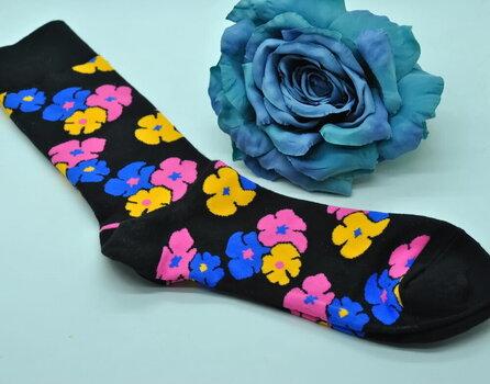 Kojinės vyrams Lucky Socks Flowers VZ-1008, juodos kaina ir informacija | Vyriškos kojinės | pigu.lt