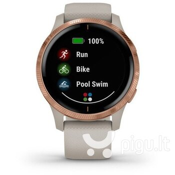 Išmanusis laikrodis Garmin Venu, Rose Gold Stainless Steel Bezel with Light Sand Case and Silicone Band internetu