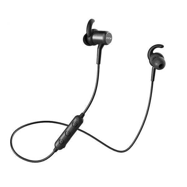 QCY M1C Bluetooth ausinės, magnetinis užraktas, juoda spalva