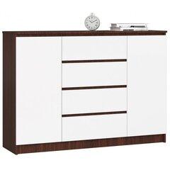 Komoda NORE K140 su 4-iais stalčiais, ruda/balta kaina ir informacija | Komoda NORE K140 su 4-iais stalčiais, ruda/balta | pigu.lt