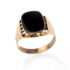 Auksinis vyriškas žiedas su oniksu 23.0 kaina ir informacija | Auksinis vyriškas žiedas su oniksu 23.0 | pigu.lt