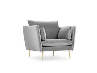 Fotelis Micadoni Home Agate, šviesiai pilkos/auksinės spalvos kaina ir informacija | Svetainės foteliai | pigu.lt