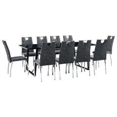 Valgomojo baldų komplektas, 11 dalių, Vida XL, juodas kaina ir informacija | Valgomojo komplektai | pigu.lt