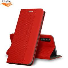 TakeMe Fabric series Smart magnetic fix book case for Samsung Galaxy S20+ (G985) Red kaina ir informacija | Telefono dėklai | pigu.lt