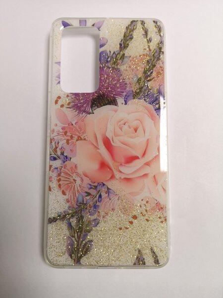 Silikoninis dėklas su rože ir laukinėmis gėlėmis, skirtas Samsung S20