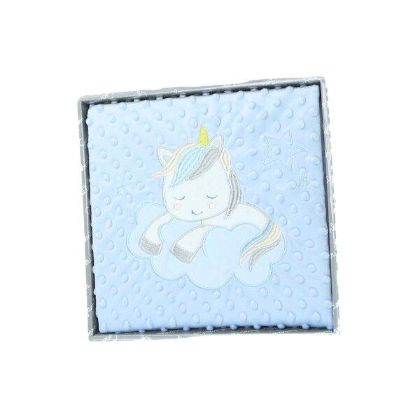 """Antklodė kūdikiams Gamberritos """"Vienaragis"""", 80 x 110 cm, mėlyna."""