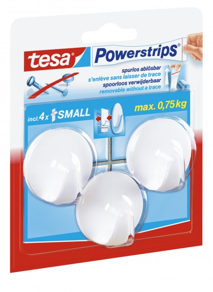 Tesa kabliukai PowerStrips Small Circle balti 3 vnt.