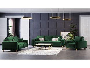 Minkštų baldų komplektas 3+2+1 Kooko Home Opera, tamsiai žalias kaina ir informacija | Minkštų baldų komplektai | pigu.lt