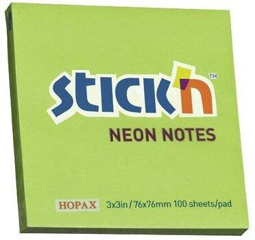 Lipnūs lapeliai Stick´N, 76x76 mm, 100 lapelių, ryškiai žali kaina ir informacija | Sąsiuviniai ir popieriaus prekės | pigu.lt