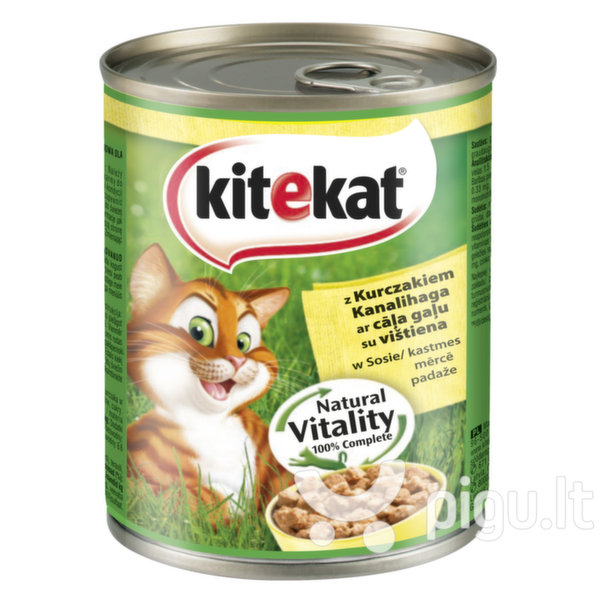 KITEKAT konservuotas ėdalas katėms skardinėse su vištiena, 800 g