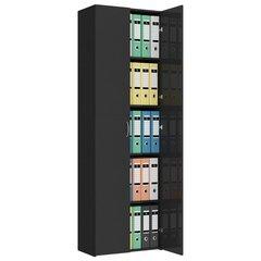 Biuro spinta, 60 cm x 32 x 190 cm, juoda blizgi kaina ir informacija | Spintos | pigu.lt