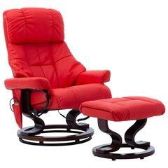 Atlošiamas masažinis krėslas, raudonas, dirbtinė oda ir mediena kaina ir informacija | Svetainės foteliai | pigu.lt