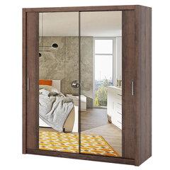 Spinta Selsey Rinker su veidrodžiu, 180 cm, tamsiai ruda kaina ir informacija | Spintos | pigu.lt