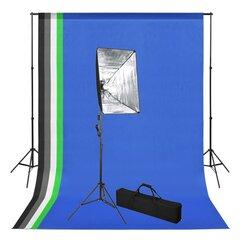 Fotostudijos komplektas su fonais ir šviestuvais kaina ir informacija | Fotografijos apšvietimo įranga | pigu.lt