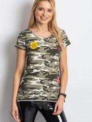 Marškinėliai moterims, žali kaina ir informacija | Marškinėliai moterims | pigu.lt