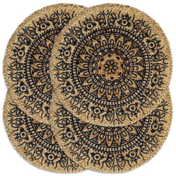 Stalo kilimėliai vidaXL, 4 vnt., 38cm, mėlyni kaina ir informacija | Staltiesės, servetėlės | pigu.lt