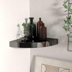 Pakabinama kampinė lentyna, 25x25x3,8 cm, juoda/blizgi kaina ir informacija | Lentynos | pigu.lt