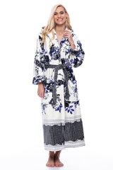 Bambuko pluošto chalatas su mėlynomis gėlėmis moterims kaina ir informacija | Bambuko pluošto chalatas su mėlynomis gėlėmis moterims | pigu.lt