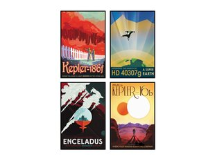 Keturių plakatų rinkinys Kosminės kelionės kaina ir informacija | Reprodukcijos, paveikslai | pigu.lt