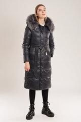 Įliemenuotas paltukas moterims su natūraliu kailiu, juodas kaina ir informacija | Striukės moterims | pigu.lt