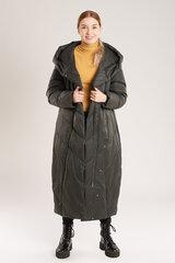Ilgas pūkinis paltas moterims, juodas kaina ir informacija | Striukės moterims | pigu.lt