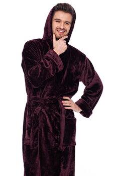 Chalatas su kapišonu vyrams Elite Bamboo, tamsiai bordo kaina ir informacija | Vyriški chalatai, pižamos | pigu.lt