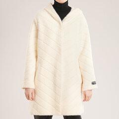 Vidutinio ilgio megztukas-paltas, baltas kaina ir informacija | Paltai moterims | pigu.lt