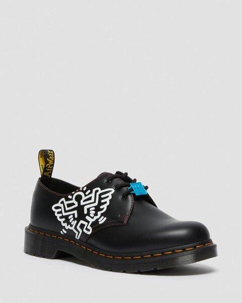 Bateliai moterims Dr. Martens 1461 Keith Haring Black Smooth 26834001, juodi kaina